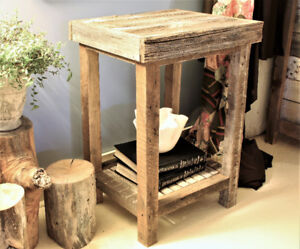 RUSTIC END TABLES, HAND CRAFTED FROM BARN BOARD