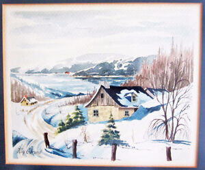 AQUARELLE ENCADRÉE DE - ROY GARAND - FRAMED WATERCOLOR