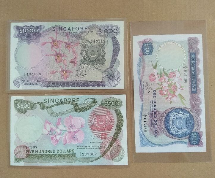 Rare Set, Old Singapore Bank Notes, First Series, Orchid $1000, $500 and $100 set, A1 Serial Number
