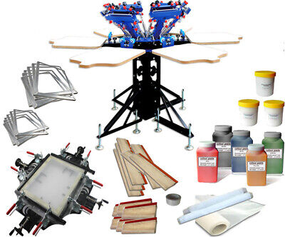 6 Color 6 Station Silk Screen Printing Kit With Screen Stretcherframemesh