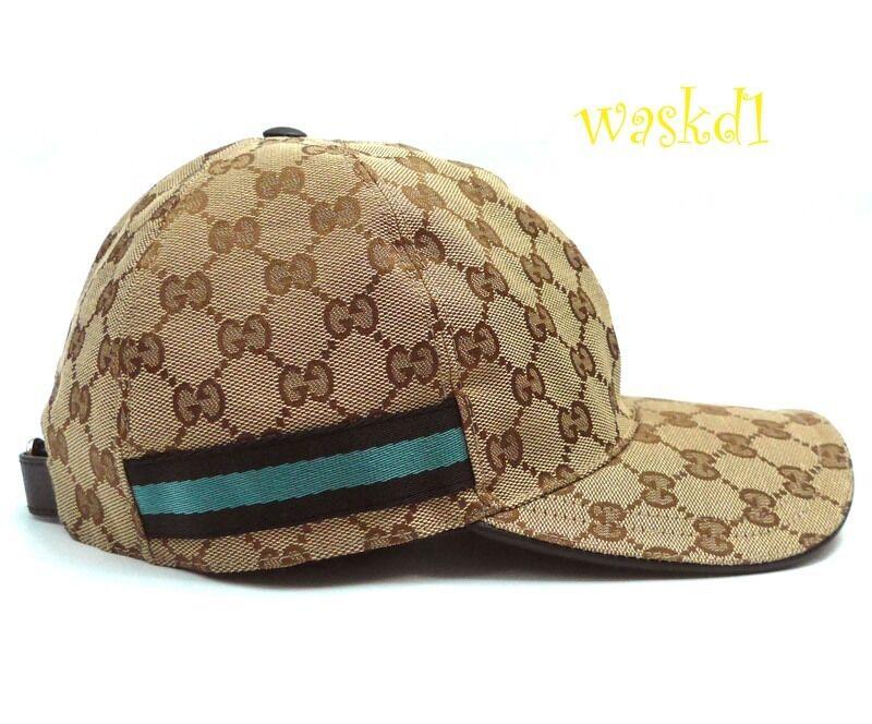 Мужской головной убор GUCCI beige XXL GG canvas Black   Blue WEB RIBBON  Baseball Hat cap NWT Authentic e945d6ecaac