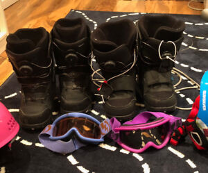 Snowboard boots and helmets SIZE 5 KIDS