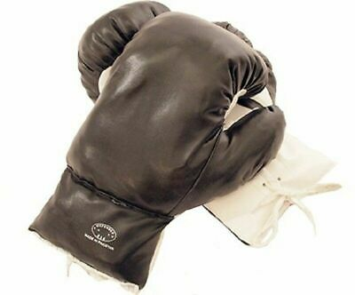 Kids 4 Oz Black Faux Leather Boxing Gloves SPARRING YOUTH PRACTICE TRAINING MMA