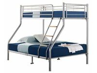 SUPERB SILVER FINISH- BRAND New Alexa Trio Metal Bunk Bed and Mattress - SAME/NEXT DAY DELIVERY