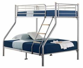 AMAZING SILVER FINISH** BRAND NEW TRIO METAL BUNK BED WITH SEMI ORTHOPAEDIC MATTRESS ** SALE PRICES