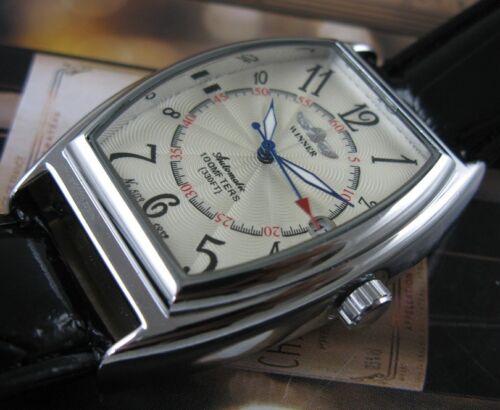 $18.99 - Luxury Leather Automatic Mechanical Skeleton Men Sport  Date Wrist Watch Black