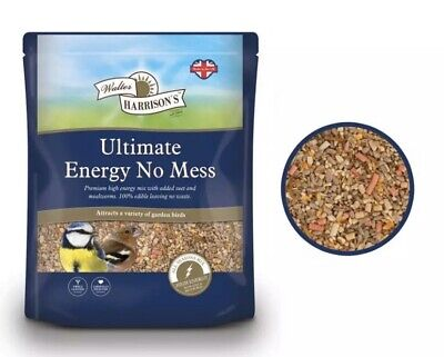 Walter Harrisons ENERGY NO MESS Seed Sunflower Mix Ultimate Wild Bird Food 2kg