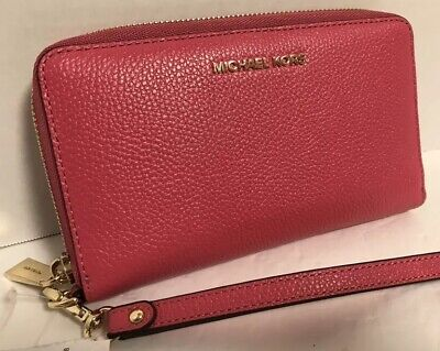 NEW Michael Kors Gold Rose Pink Pebble Leather Flat Multi Phone Wristlet Wallet