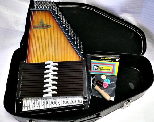Vintage MIJ Chromaharp 15 Chord Autoharp wCase Tune Hammer Picks + Song Booklet