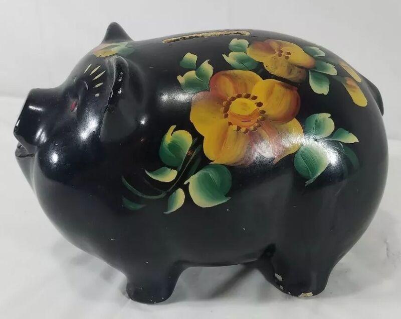 Vintage Chalk Ware Floral Painted Piggy Bank