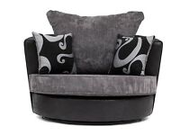 Swivel Chair in Black grey fabric