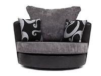 Swivel Chair In Black Grey Fabric