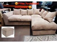 BRAND NEW DYLON JUMBO CORD CORNER SOFA SET WITH FREE MATCHING FOOTSTOOL INCLUDED 😍🔥✅