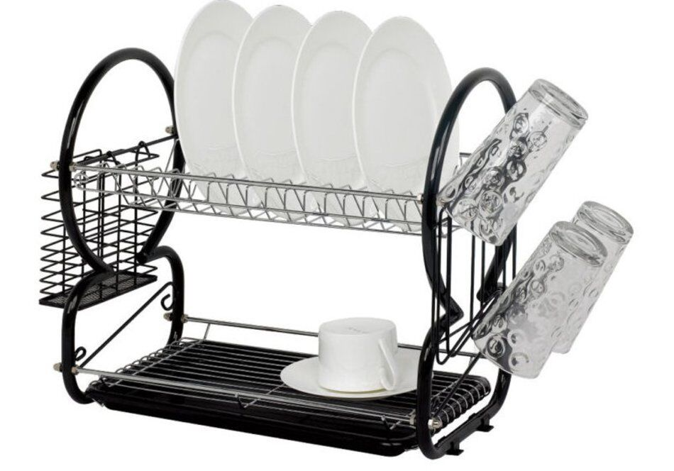 2 tier dish drainer rack storage drip tray sink drying draining plates black y y 5412321650560. Black Bedroom Furniture Sets. Home Design Ideas