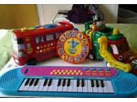Toddler learning toys, Alphabet bus,keyboard,Garbage Truck and Numberjacks tambourine.