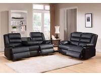 Luxury Becky Bonded Leather Recliner Suite with Pull down Drink holder