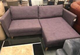Purple fabric chaise sofa