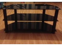 SHINY BLACK THREE TIER TV STAND - HOLDS UPTO A 42 INCH TV