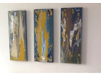 Abstract Wall Art; Firewood An Original Canvas Set of 3 80 x 30cm Hand Painted Acrylic