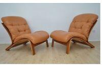 Pair of ODDVIN RYKKEN Vintage DANISH Armchairs TEAK Wood Design Midcentury Loft Modern
