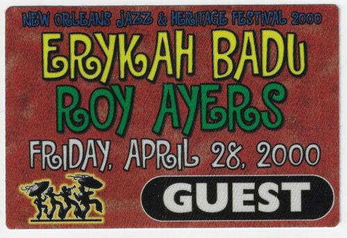 ERYKAH BADU - ROY AYERS  / Unused OTTO Satin Cloth GUEST Backstage Pass- 2000 !!