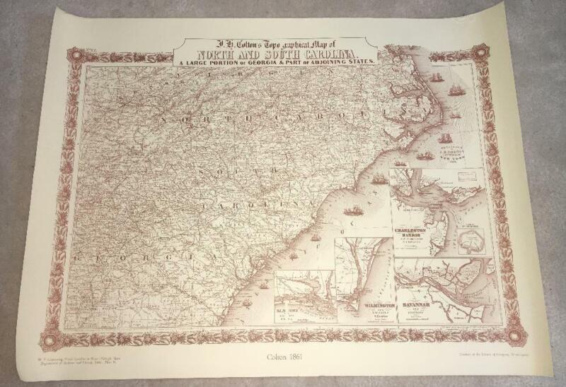 J H COLTON TOPO  NORTH SOUTH CAROLINA ATLAS MAP 1861 25X19 VTG 1966 PRINT POSTER