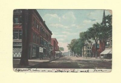 MA Westfield 1908-19 postcard ELM STREET TROLLEY TRACKS BUILDINGS & ER POST SIGN