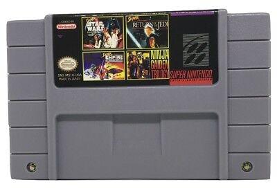 4 in 1 Multicart Super Nintendo SNES Super Star Wars Back Ninja Gaiden Trilogy