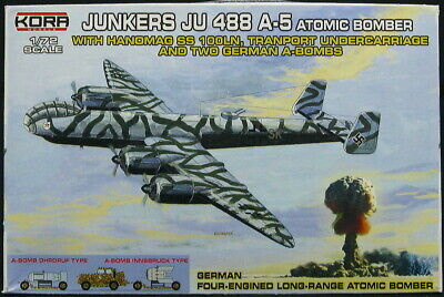 KORA Models 1/72 JUNKERS Ju-488A-5 BOMBER with 2 GERMAN ATOM BOMBS & TROLLEY 5 Atomic Models
