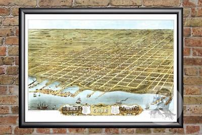 - Vintage Erie, PA Map 1870 - Historic Pennsylvania Art - Old Victorian Industrial