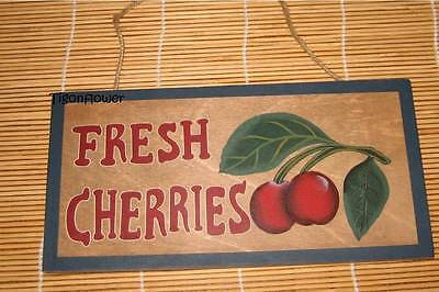 Rustic Wood Plaque (Wood Sign Plaque Decor Country Rustic FRESH CHERRIES)
