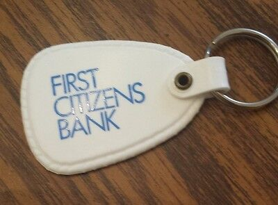 First Citizens Bank Advertisement Vintage White Keychain Key Ring