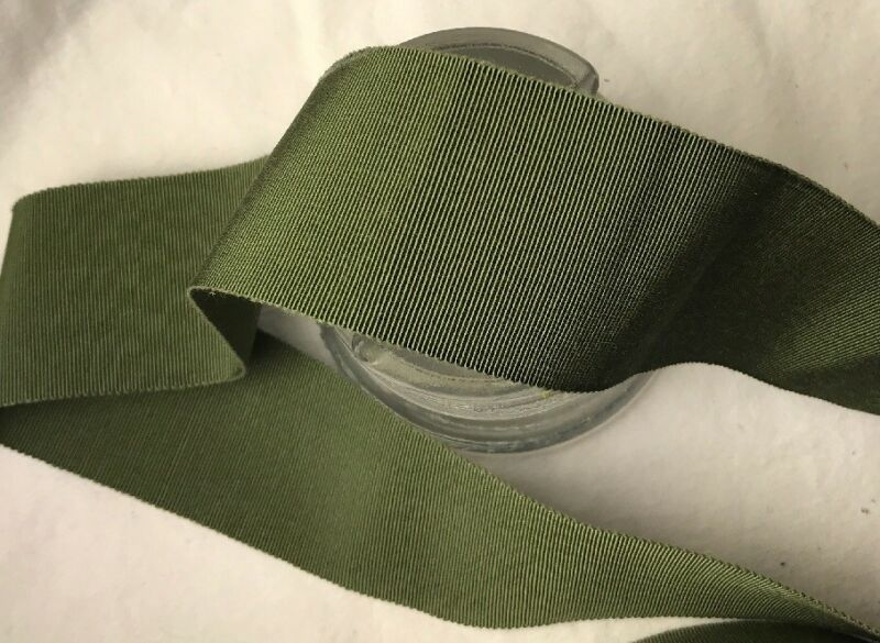 "BTY 2"" army green vtg cotton rayon grosgrain petersham ribbon millinery hat"