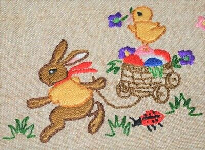 EASTER BUNNY TRANSPORTS CHICK & EGGS WITH LADYBUG! VINTAGE GERMAN TABLECLOTH ()