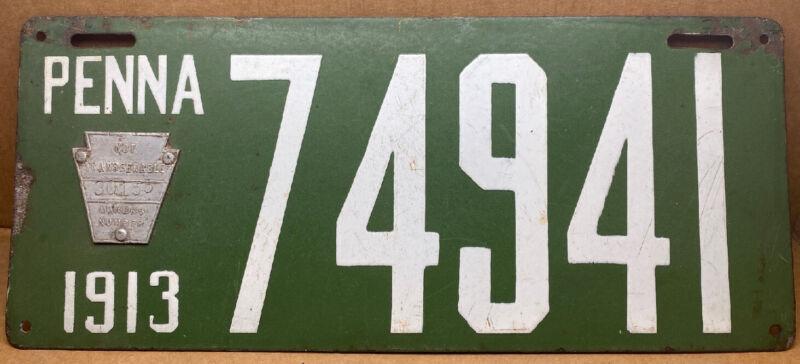 RARE 1913  PORCELAIN PENNSYLVANIA LICENSE PLATE #74941