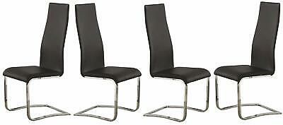 Coaster Wexford Upholstered Dining Chairs Black and Chrome (Set of 4) ()