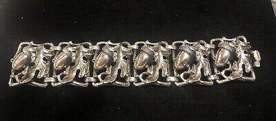 C Themed Dress Up (c1970 Vintage Napier Silver Plated Acorn Themed Bracelet - Lot)