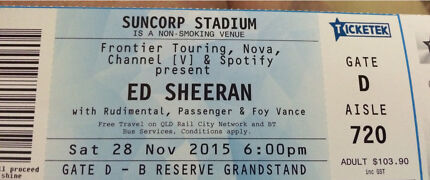 Ed Sheeran Concert tickets x2 Inala Brisbane South West Preview