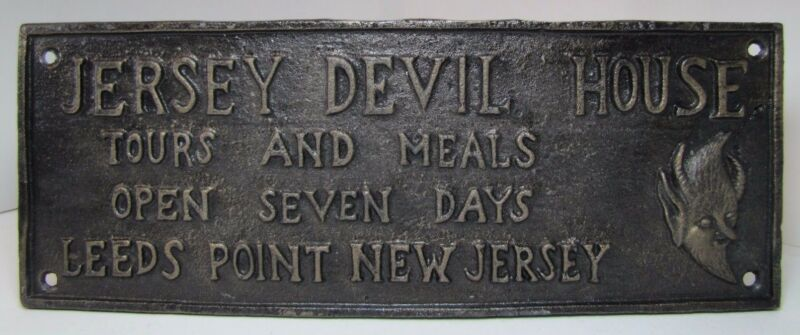 Cast Iron JERSEY DEVIL HOUSE Plaque Sign embossed Leeds Point New Jersey