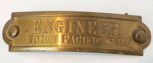 "Union Pacific Railroad ENGINEER Hat Badge UPRR 4"" antique Original Rare metal"