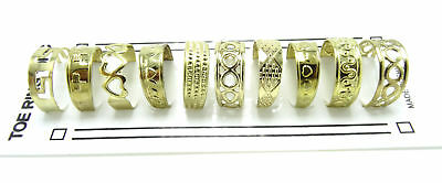 New 10 Piece Gold Tone Metal Toe Rings Set #R1171G