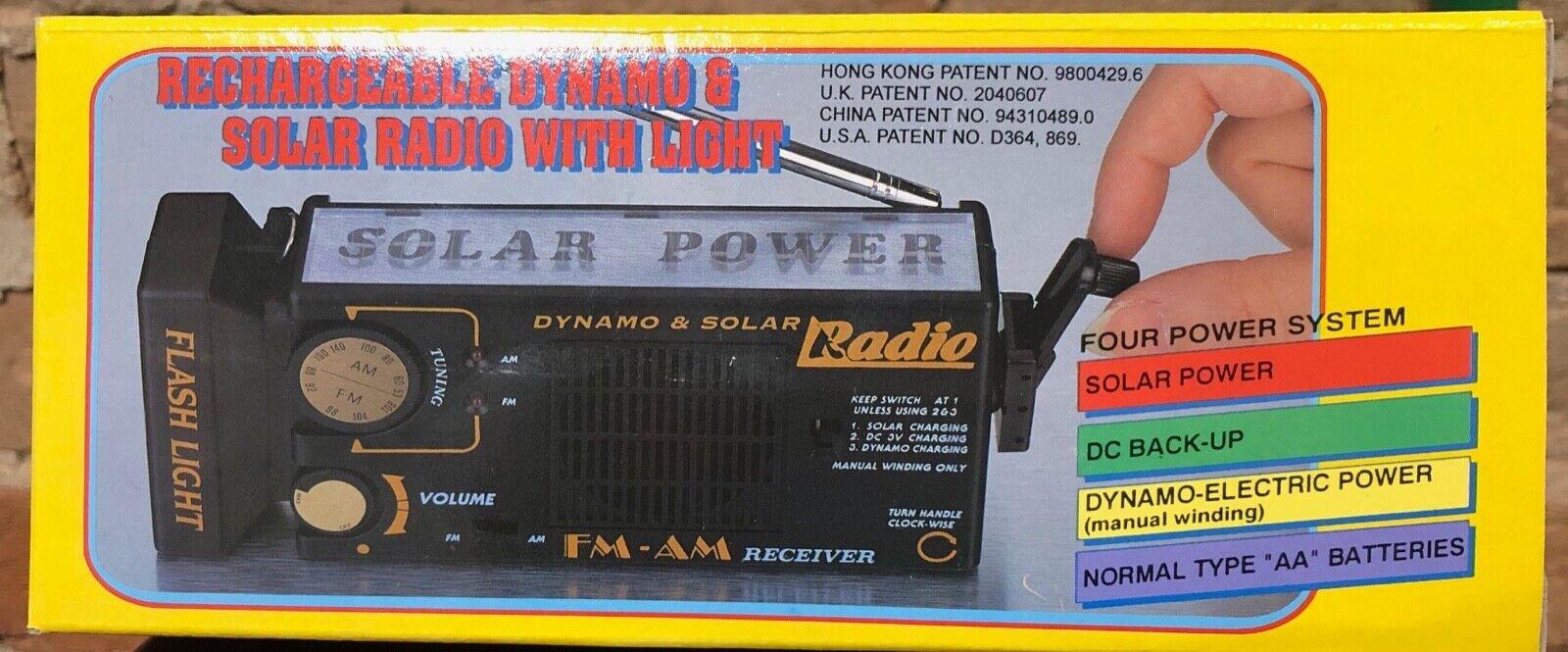 Portable Solar Power Radio, Flashlight, AA Battery and Hand