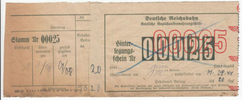 1944 Original Germany Train Ticket to Gross Rosen COncentration Camp