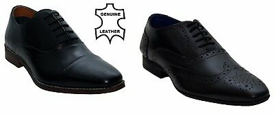 Mens Leather Oxford Lace-Up Brogues Office Party Boys Black Gents Formal Shoes Lace Boys Oxford