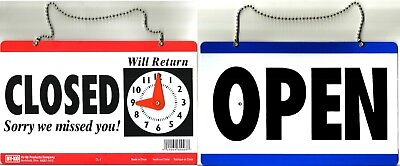 Open Closed Hanging Door Sign W Adjustable Clock Sorry We Missed You Hy-ko Cl-1