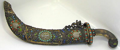 "Antique Chinese Gilt Silver Filigree & Enamel DAGGER Jeweled 13 1/2"" QING Jade"