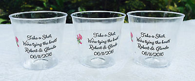 50 PERSONALIZED 1oz. PLASTIC SHOT CUPS for Bar at Wedding CLEAR PARTY - Personalized Cups For Wedding