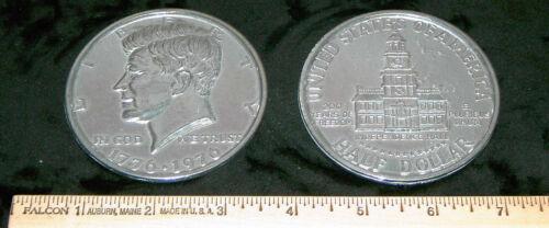 """REPLICA 1976 Kennedy Bicentennial Half Dollar BIG HUGE 3"""" COIN paperweight, etc"""