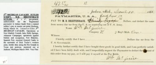 3rd REGIMENT MICHIGAN CAVALRY, SUTLER SCRIP [CHIT] FOR DEDUCTING DUE FUNDS FROM