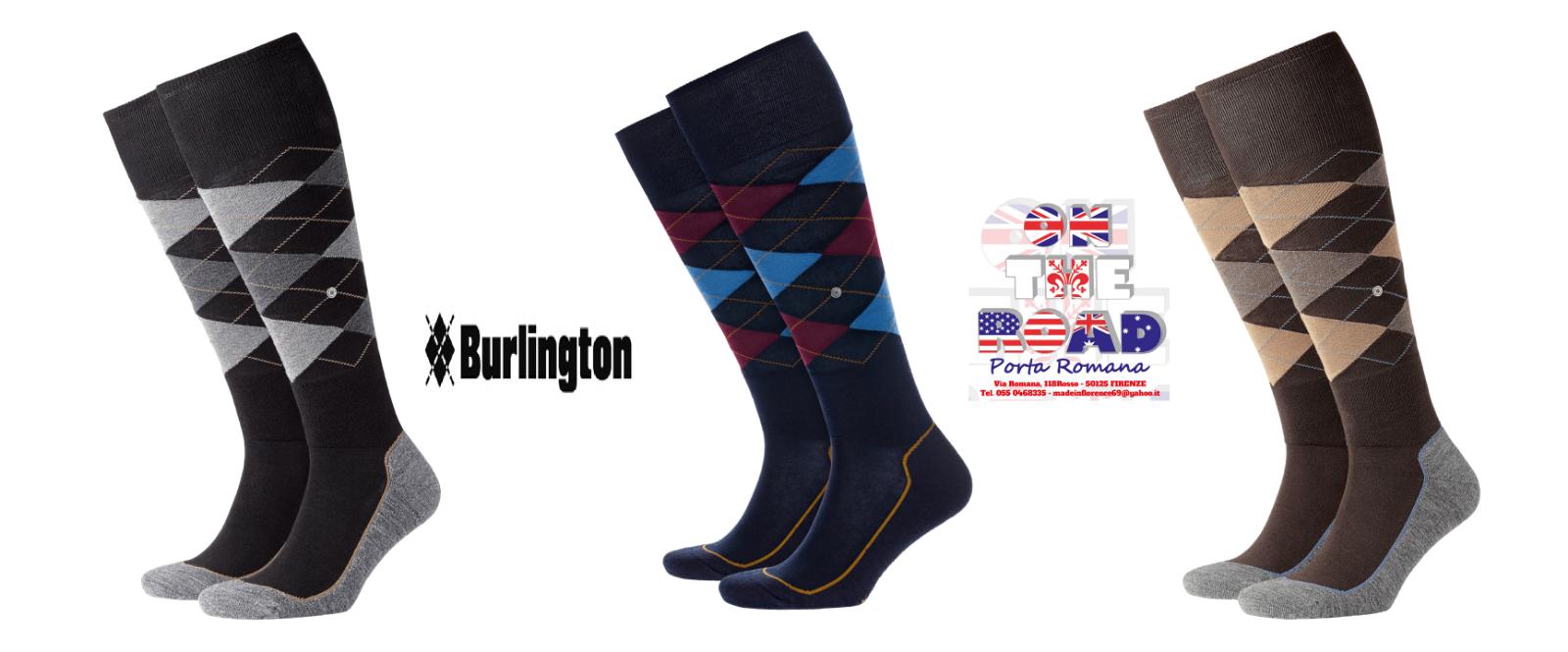 BURLINGTON SOCKS HACKNEY 21753 CALZINO LUNGO ROMBI 40/46 CALZE MISTO COTONE